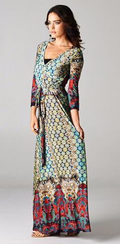 """Awesome print maxi. Quality and durable material, polyester/spandex blend. Wrap style. Model is 5' 6"""" so plan on wearing tall shoes or hemming if you are shorter. :) Fits true to size.   Maxi dress, modest dress, wrap dress, modest fashion, indie dress, boho style"""
