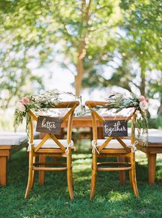 Better together sweetheart chair hangings: http://www.stylemepretty.com/california-weddings/healdsburg/2016/06/13/this-whimsical-wedding-is-guaranteed-to-make-you-smile/ | Photography: Hannah Suh Photography - http://hannahsuh.com/