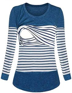 HEETEY Mom Women Pregnant Nursing Baby Maternity Stripe T-Shirt Tops Blouse Clothes Breastfeeding Clothes for Women in Spring Autumn Winter