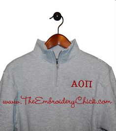 Quarter Zip Fleece Pullover from The Embroidery Chick.
