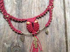 Micro macrame owl necklace custom order par creationsmariposa, $55.00