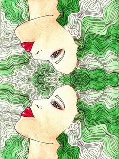 IMÁGENES DOBLES | Lola Kabuki  #love #art #watercolor #paintings #illustration