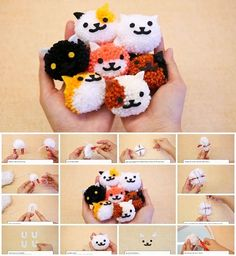 Super cute mini cat pom pom craft project and tutorial Pom Pom Crafts, Yarn Crafts, Diy For Kids, Crafts For Kids, Pom Pom Tutorial, Pom Pom Animals, Craft Projects, Sewing Projects, Pom Pon