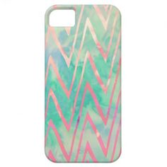 Pink Turquoise Watercolor Zigzag Chevron Pattern iPhone 5 Cover
