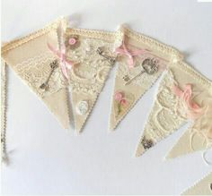 Image Detail for - Vintage Shabby Chic Wedding Bunting Banner Garland Pennant style Shabby Chic Bunting, Shabby Chic Wedding Decor, Shabby Chic Crafts, Vintage Bunting, Shabby Chic Mode, Shabby Chic Style, Bunting Garland, Bunting Ideas, Pink Bunting