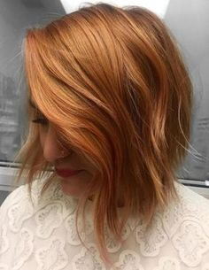 Choppy Reddish Blonde Bob