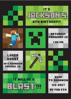 Minecraft Invitation  Minecraft Party    Minecraft