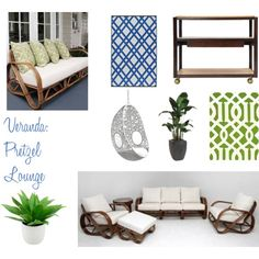 Inspiration for our Australian veranda using a pretzel cane lounge, agave in a large white pot, traveler palm, a hanging egg chair for a child to read in, a timber drinks cart and an outdoor rug.
