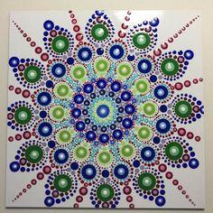 Hand Painted Mandala on an Artist Panel, Dot Art, Meditation, Healing, Calming, #453 by MafaStones on Etsy