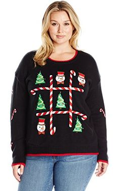 Blizzard Bay Women's Plus Size Tic-Tac-Toe Board LED Light-Up Ugly Christmas Sweater, Black/Red, 2X ❤ Blizzard Bay Womens Child Code