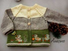 """Baby cardigan with embroidery ducklings..This cardigan has top-down raglan construction and is worked in one piece.Hand embroidery.Knitting is soft and pleasant to the touch.  Difficulty level:Intermediate Pattern requires the following skills:Duplicate stitch.Embroidery stem stitch,satin stitch.  Size:6-9months FINISHED MEASUREMENTS  width: 26cm /10.2""""  length: 28cm/11""""  Size: 12-18 months Finished measurements: length - 32cm / 12.6""""  width - 29,5 cm / 11.6""""  GAUGE 25 sts..."""