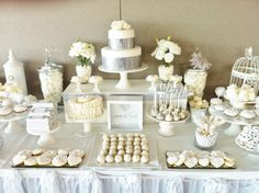 White & Silver Wedding lolly bar  wedding idea