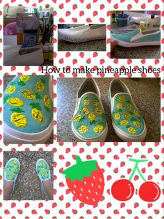 Summer is here, we eat watermeloons, pineapples.... Let's make pineapple shoes🍍🍉👟♥