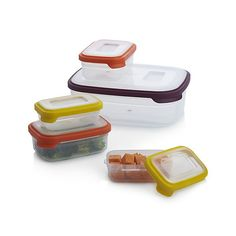 Most sets of food storage containers take up precious cupboard space when not in use and usually require lids and bases to be stored separately. This innovative, space-saving nesting design neatly combines the bases and lids in the same space as one. Bases nest neatly inside each other and lids snap conveniently together making them very easy to find, and all elements are clearly color-coded for speedy pairing. The set includes two 8-oz, two 18-oz. and one 113-oz container.