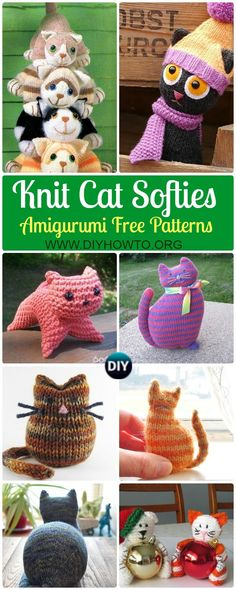 Collection of Amigurumi Knit Cat Toy Softies Free Patterns: Cat Plushie Toys Knitting Patterns, Window cats, Parlor Cat, Bean Cat, Cat Puppet and more kids cat toy gifts  via @diyhowto