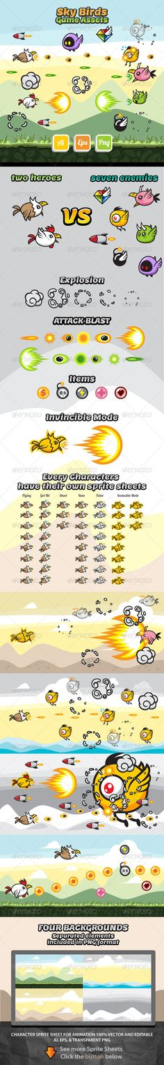 Sky Birds Game Assets - Animals Characters