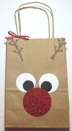 Rudolph the Red-Nosed Reindeer Gift Bag! So easy! Find a shopping bag in your stash and punch some circles! bag punch board Decorate a Rudolph the Red-Nosed Reindeer Gift Bag Christmas Gift Bags, Christmas Gift Wrapping, Christmas Holidays, Christmas Decorations, Christmas Ornaments, Modern Christmas, Christmas Tables, Nordic Christmas, Christmas Design