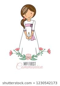 my first communion girl. Pretty little girl with communion dress and flowers Party Co, Pretty Little Girls, Baby Art, First Communion, Craft Party, Cover Pages, Kids Decor, Doll Patterns, Decor Crafts