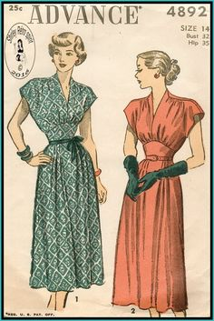 Vintage Sewing Patterns Advance 1940s Dresses Gathers Midriff Tucks Cap Sleeves Dart tucks Extended Shoulders V Neckline