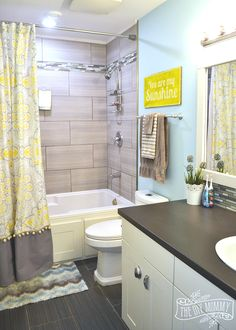 A Happy Yellow Aqua Kids Bathroom Bathroom Ideas Painting