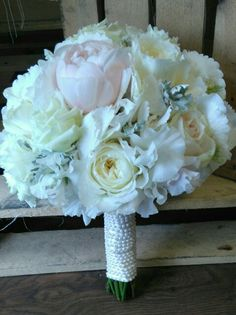 peony rose, silver dust and avalanche rose bridal bouquet