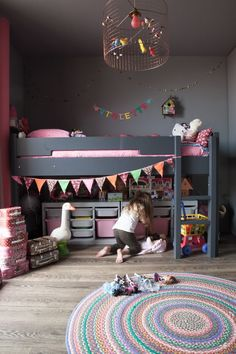 The LuxPad - Children's Bedroom Decor Ideas, Rosie Kinsella, trending kids room, grey decor, coloured bunting, bunk bed