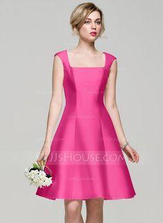 A-Line/Princess Square Neckline Knee-Length Satin Bridesmaid Dress (007072820)