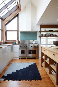 kitchen with green b