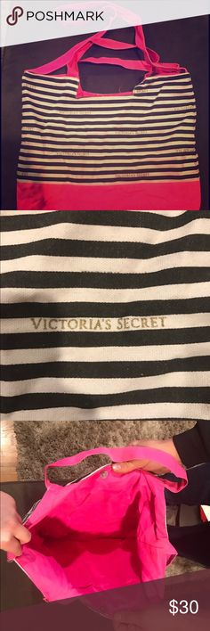 Victoria's Secret Beach Bag ☀️ Victoria's Secret beach bag, lightly used, pink with black and white strips, large, closes with a snap, let me know if you have any questions! Happy poshing✨ Victoria's Secret Bags Hobos