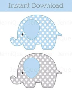 Printable Elephant Decorations, Elephant Baby Shower Decoration, Elephant Birthday Decor, Polka Dots, Light Blue and Grey Printable Elephant Decorations Elephant Baby by JenniQuePrintShop Baby Shower Parties, Baby Shower Themes, Baby Boy Shower, Shower Ideas, Elephant Birthday, Elephant Theme, Elephant Applique, Elephant Pattern, Boy Birthday
