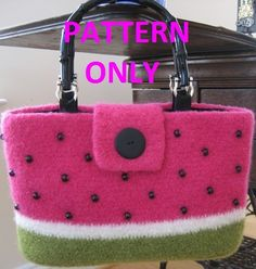 Felted Watermelon Tote PATTERN by Pomquat on Etsy, $5.00
