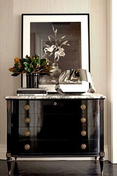 Steven Gambrel / Interior design / Entry decor / Foyer decor / Black lacquered dresser / Dresser in entry / Modern refined entry decor / Traditional modern foyer / Framed Photography in on entry table Decor, Furniture, Painted Furniture, Decor Design, White Decor, Home Decor, House Interior, Interior Design, Furnishings