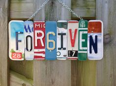 FOR6IVEN SIGN Recycled  Repurposed  Upcycled by KoolPlatez on Etsy, $75.00