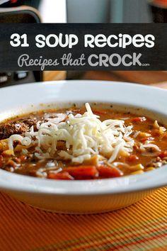 31 Crock Pot Soup Recipes-- Perfect for fall!
