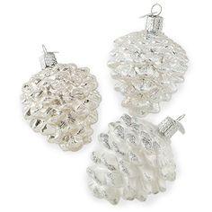 Snowy Pine Cone Ornaments