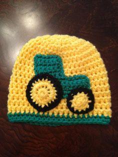 "Tractor Hat    BECOME A FACEBOOK FAN OF ""AMANDA BROOKE CROCHET"""