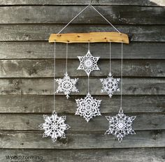 Christmas decoration snowflakes mobile Christmas by Woodstorming