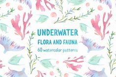 Underwater watercolor patterns by HypeHype on @creativemarket