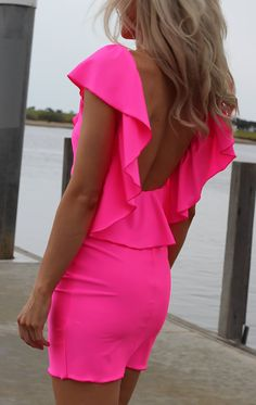 NEON PINK Low Open Back Ruffle Mini Dress By designer by JustynaG, $109.95