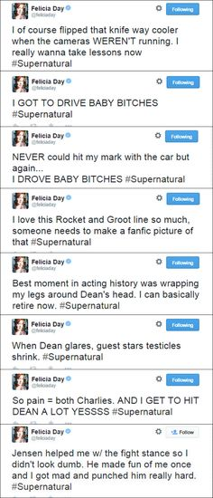 My Favorite Felicia tweets for 10x11 There's No Place Like Home. These are awesome!