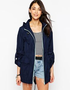 Brave Soul Lightweight Rain Mac With Contrast Zip