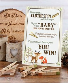 "This woodland baby shower clothespin game is a ton of fun. Collect the most pins and win the game by taking others' when they say ""baby."" Make the shower a blast! Baby Shower Fall, Boy Baby Shower Themes, Baby Shower Favors, Baby Shower Games, Baby Boy Shower, Woodlands Baby Shower Theme, Shower Party, Baby Shower Crafts, Baby Favors"