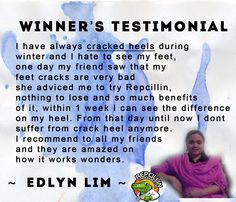 Edlyn used Repcillin as a natural cure for her cracked heals. She chose to use our natural skin care products