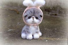 """Купить Котенок """"Стеша"""". Игрушки из шерсти - серый, кошка, котенок, кот, котик, котики"""