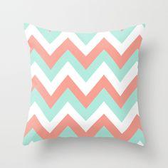 coral throw pillows   MINT & CORAL CHEVRON Throw Pillow