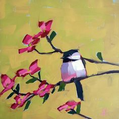 Chickadee no. 447 original bird and floral oil painting by Angela Moulton