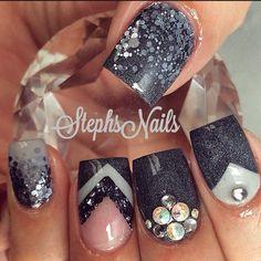 Negro con gris/ glither