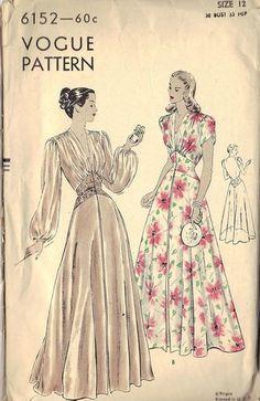 Vintage Sewing Pattern Costume Fashion 1930 1940 Negligee Vogue Nightgown | eBay