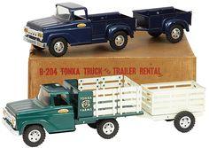 1958 Tonka Truck and Trailer Rental Set Farm Trucks, Toy Trucks, Diesel Trucks, Old Vintage Cars, Vintage Toys, 1960s Toys, Tonka Toys, Metal Toys, Trailers For Sale