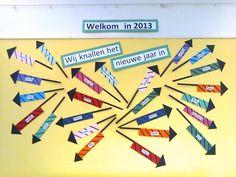 'Wij knallen het nieuwe jaar in'. Idee om het nieuwe jaar te starten. Crafts For Kids, Arts And Crafts, Diy Crafts, Classroom Door, New Years Eve, Happy New Year, Back To School, Teaching, Activities